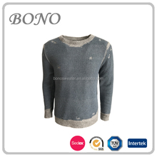 HOT SALE ROUND NECK COLLAR BROKEN HOLE COMFORTABLE STYLE KNIT PULLOVER SWEATER FOR MAN