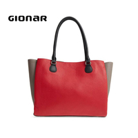 Popular OEM High Quality Check Color Leather Best Black Leather Design Tote Bag for Women Sale Online