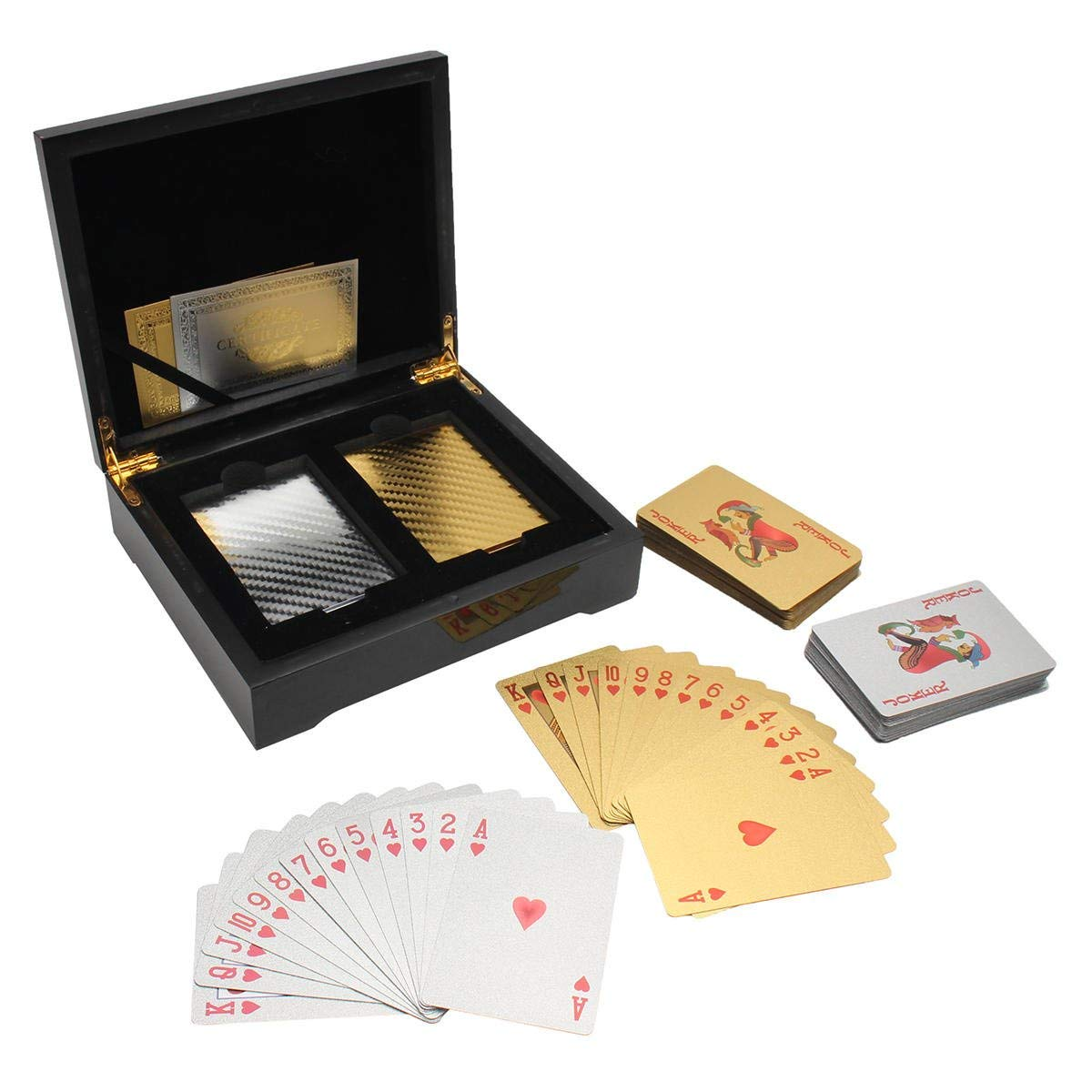 24k Gold/Silver Foil Playing Cards 2 Deck Poker Brown Wooden Box Gifts Game Casino - Hardware & Accessories Storage & Organization - 1 x Poker Collection Wooden Box, 1 x 54 Silver Playing Cards