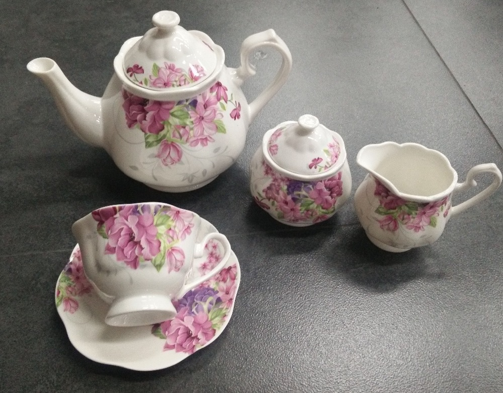 nice tableware tea service with fine porcelain cup and dish