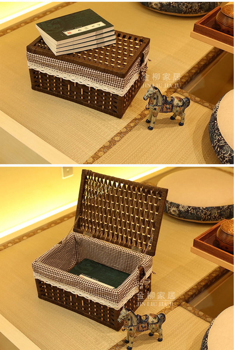KINGWILLOW, Handmade rectangle woven paper rope storage basket with lid