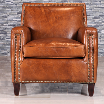 Retro Style Antique Leather Armchair With Rivet
