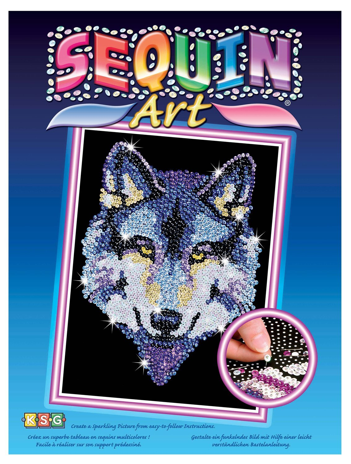 Buy Sequin Art Blue Wolf Sparkling Arts And Crafts Picture Kit