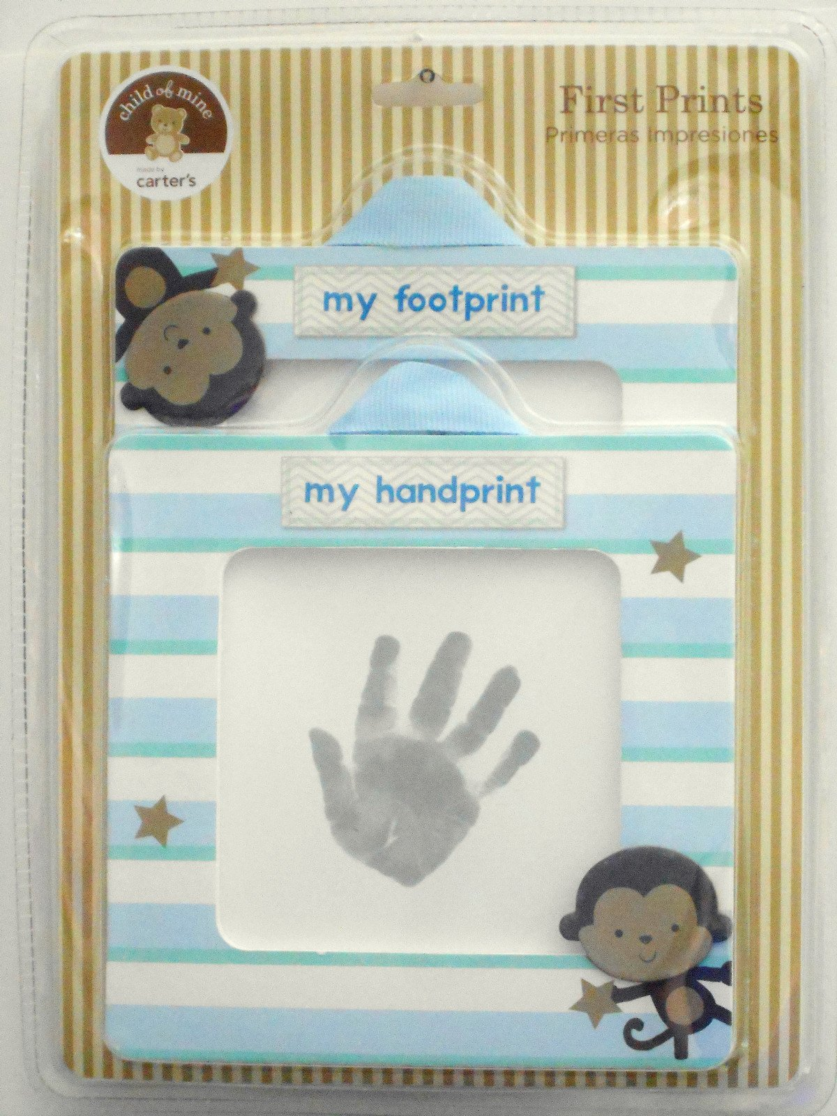 Carter's Child of Mine Baby Boy First Handprint and Footprint Kit, Monkey, stripe Frames