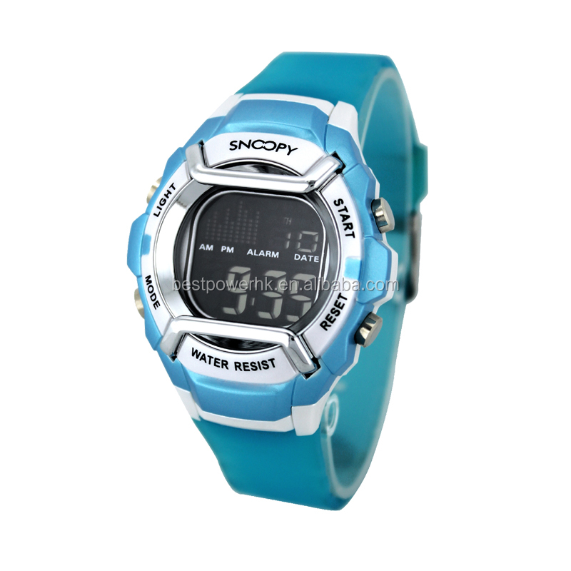 2018 Best Selling Blue Plastic Strap Electronic Stainless Case Waterproof Snoopy Children Wrist Watch