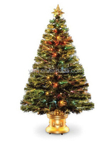 2014 new fiber optic tree with decorative christmas pots
