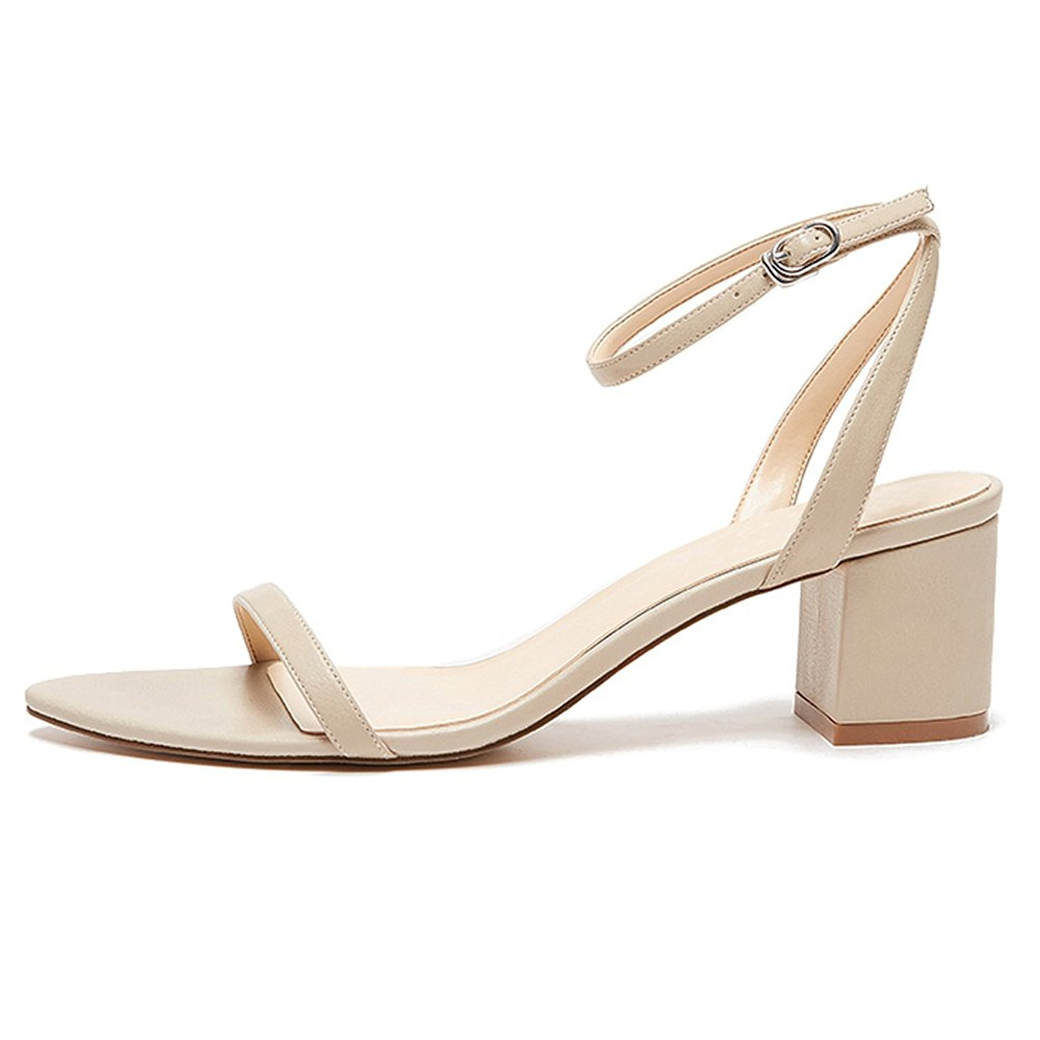 bfb025b363 Get Quotations · yBeauty Women's Block Mid Heel Sandals Ankle Strap Pumps  Buckle Chunky Heel Sandals Low Heel Sandals