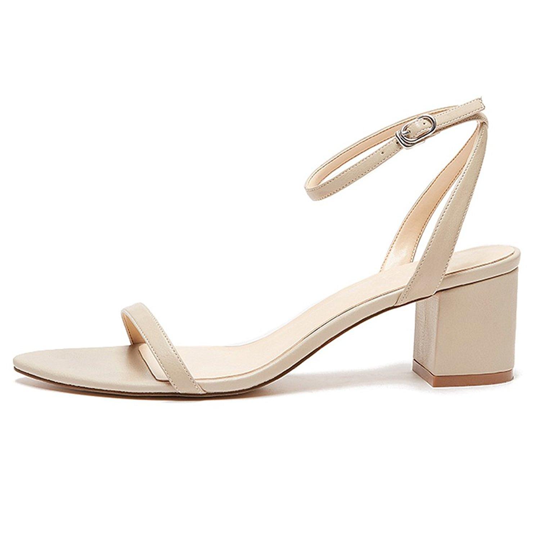 57b8e5a2ddb22e Get Quotations · yBeauty Women s Block Mid Heel Sandals Ankle Strap Pumps  Buckle Chunky Heel Sandals Low Heel Sandals