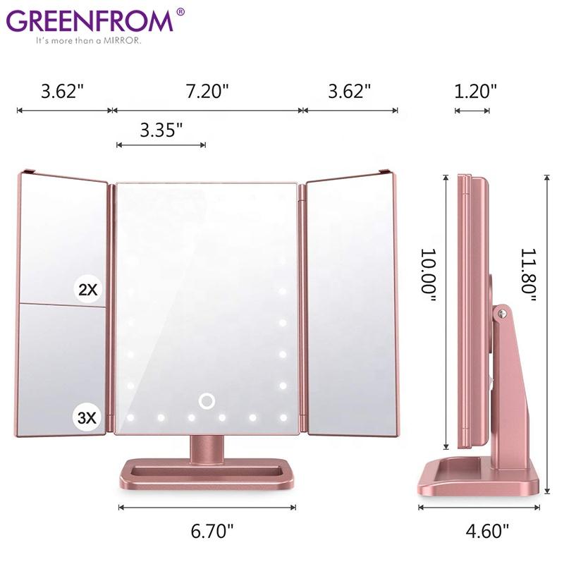 Tri pieghevole da tavolo di trucco professionale make-up pieghevole illuminazione a led tre lati specchio