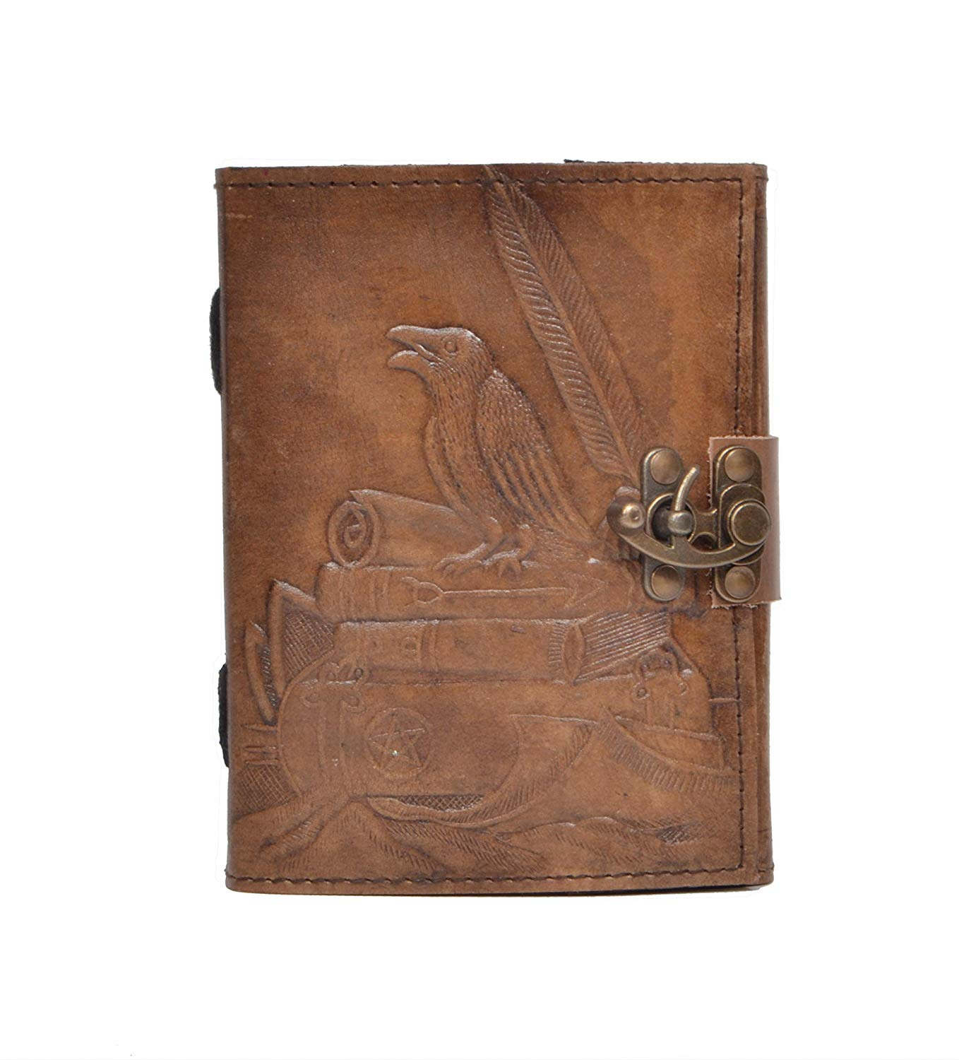 New Vintage Handmade Crow Embossed Leaher Diary Raven Paper Brown Charcoal Color Luxury Paper Hand with Books Leather Journal Sketchbook Notebook Art Book Poetry Book Diary