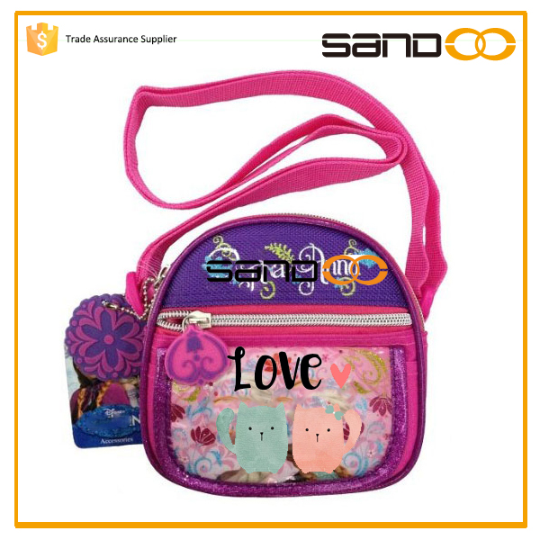 Wholesale cute girl kids wallet, kids purse with strap