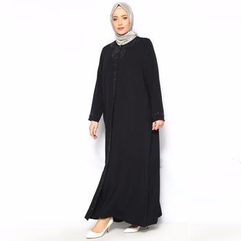 c6ccd48e404b 2018 new design dubai abaya with long sleeve maxi dress black fashionable  women abaya