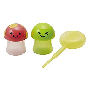 Torune Mushroom Red Green Mini Sauce Case Container for Lunch Bento Box with Dropper