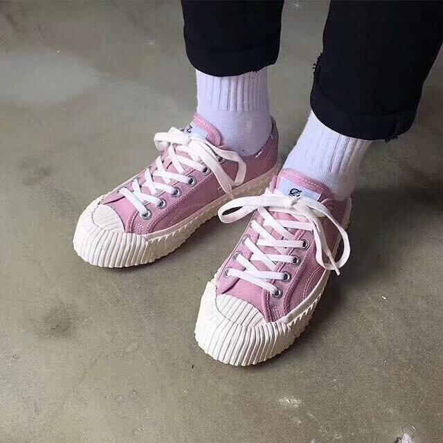 style retro up canvas flat shell Korea shoes lovers toe lace foot pOwqORdx
