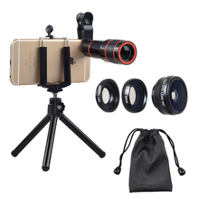 Creative Smartphone Accessories Mobile Phone Detachable Camera Lens Apexel New 4 In 1 Lens Kit 12X Zoom Telephoto Lens