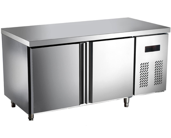 Fan cooling stainless steel work prep table under counter fridge 2 doors