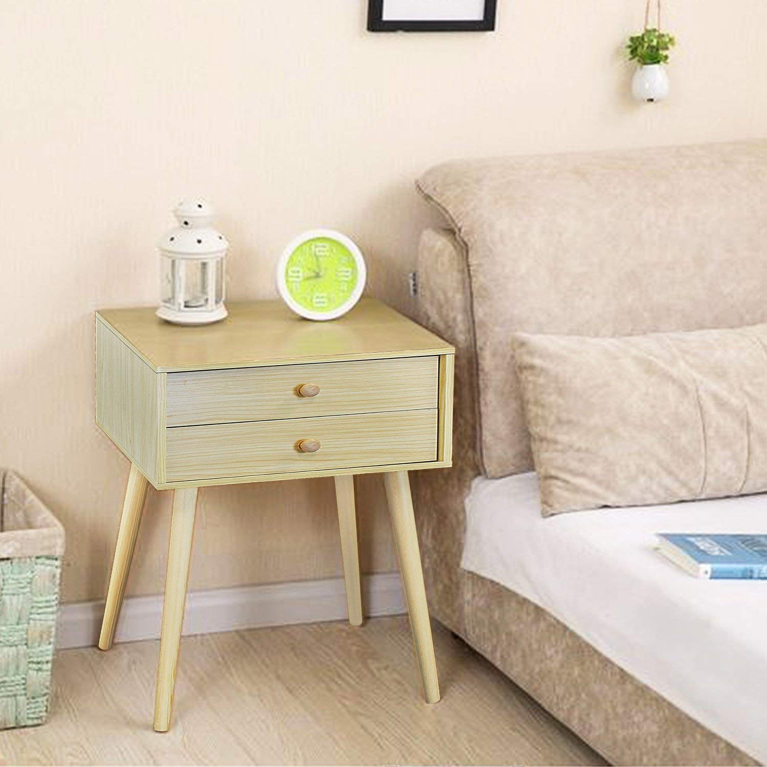Jerry & Maggie - Nightstand Modern Fashion 4 Thin Long Legs Space Station - 2 Tier Cubic Night Stand Storage Bedside Table W 2 Drawer Real Natural Paulownia Wood (2-Tier   Natural Wood Tone)