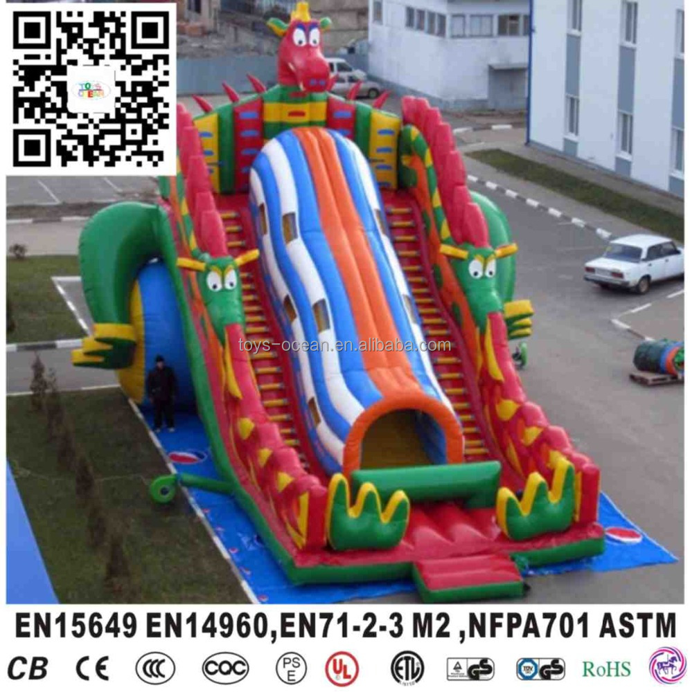 Commercial inflatable giant dragon slide for kids, inflatable dry slide for rental
