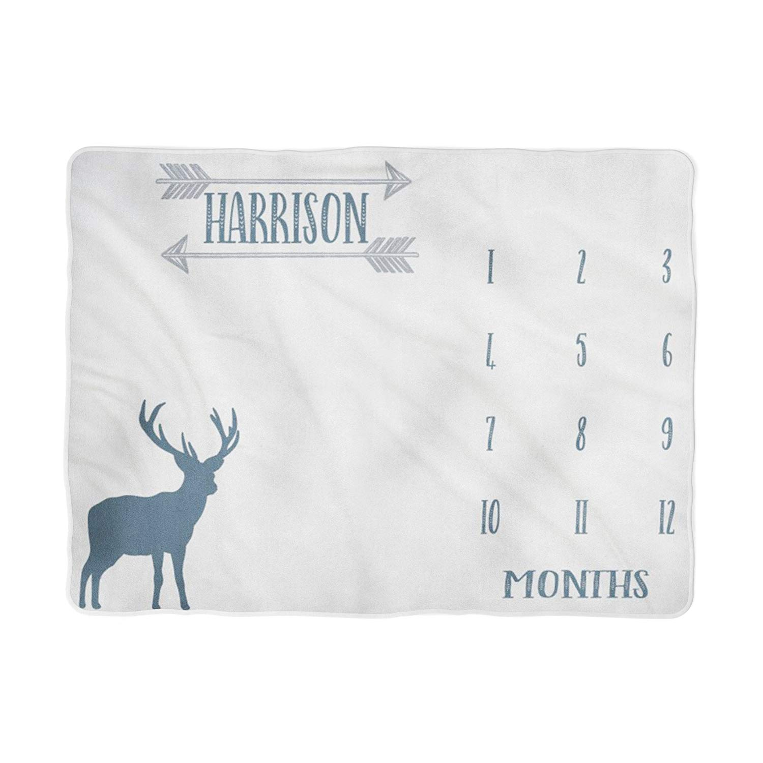 Deer Baby Milestone Blanket, Monthly Growth Tracker, Personalized Baby Blanket, Custom Blanket,, New Baby Gift, Baby Boy