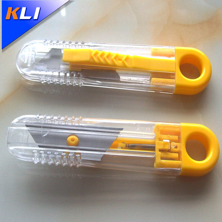 Low price high quality yellow paper knife plastic safety box cutter
