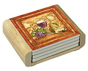 CounterArt Golden Wine Design Square Absorbent Coasters in Wooden Holder, Set of 4