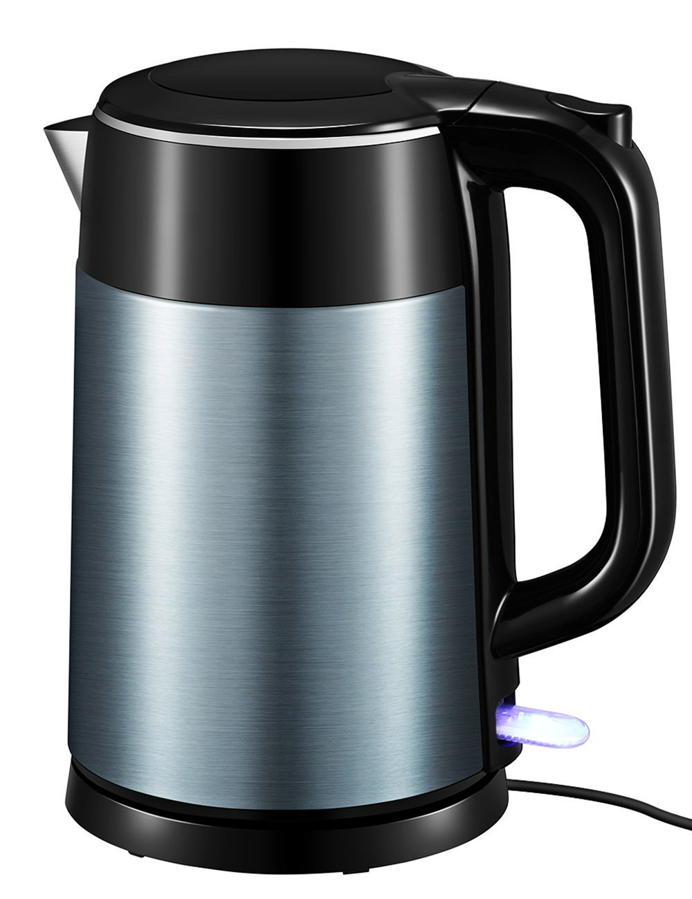 Electric Kettle, Habor UPGRADED 1.7Liter Stainless Steel Kettle, Double-Walled Hot Water Boiler Fast Heating with Auto Shut-Off and Boil-Dry Protection, Cordless, Sapphire Blue