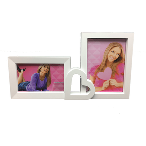 Vertical frame Simple style white multi frame heart collage plastic photo frame for sexy girls