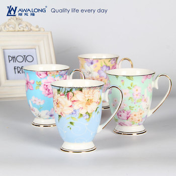 Bulk Fine Coffee Cup Customized Logo Royal Design Mugs Whole Beautiful Personalized