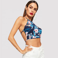 Knot back flower print halter blouse new design tops sexy crop top