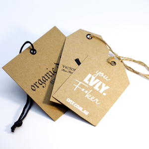 Custom Clothes Recycled Thick Embossed Kraft Paper Hang Tags Label With Hemp String For Denim Jeans