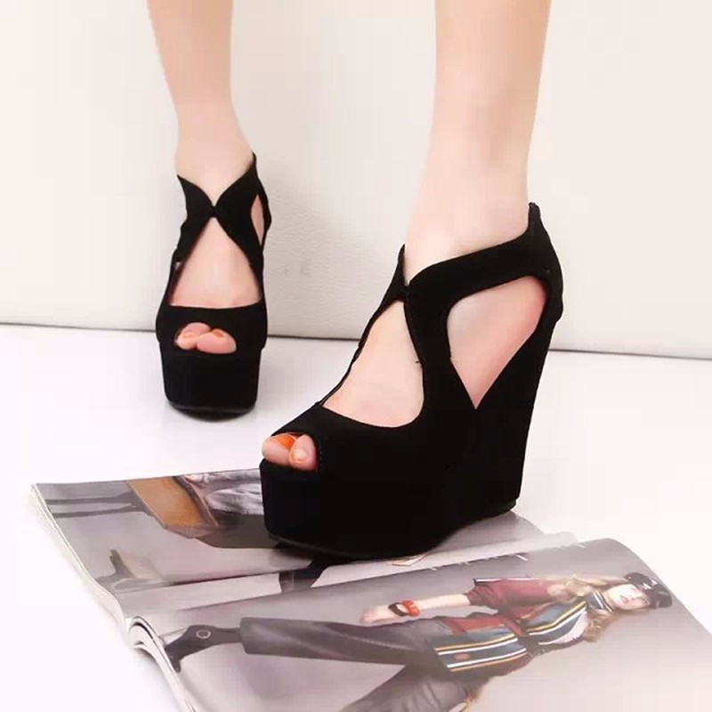 2015 FASHION Wedge High Heel Women Sandals Black Shoes Summer Fretwork Platform Sandal Gladiator Sandals Women sandalias LD53 (12)