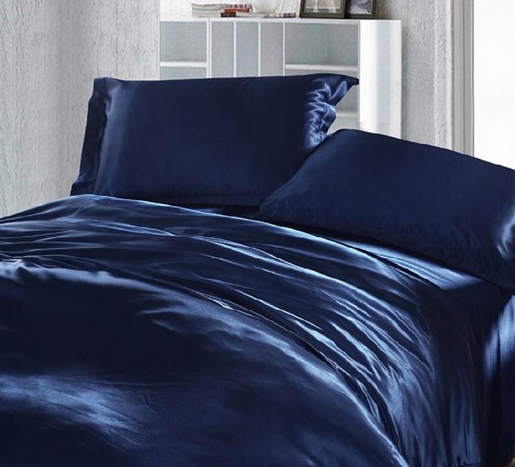 Wholesale Dark Blue Bedding Set Silk Satin Super King Size
