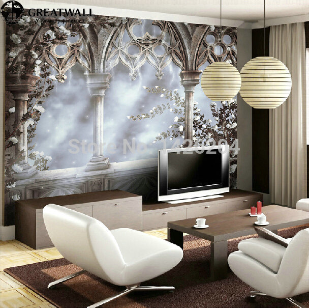 Wallpapers In Home Interiors: Great Wall European Retro 3d Wallpaper Murals,Flying Snow