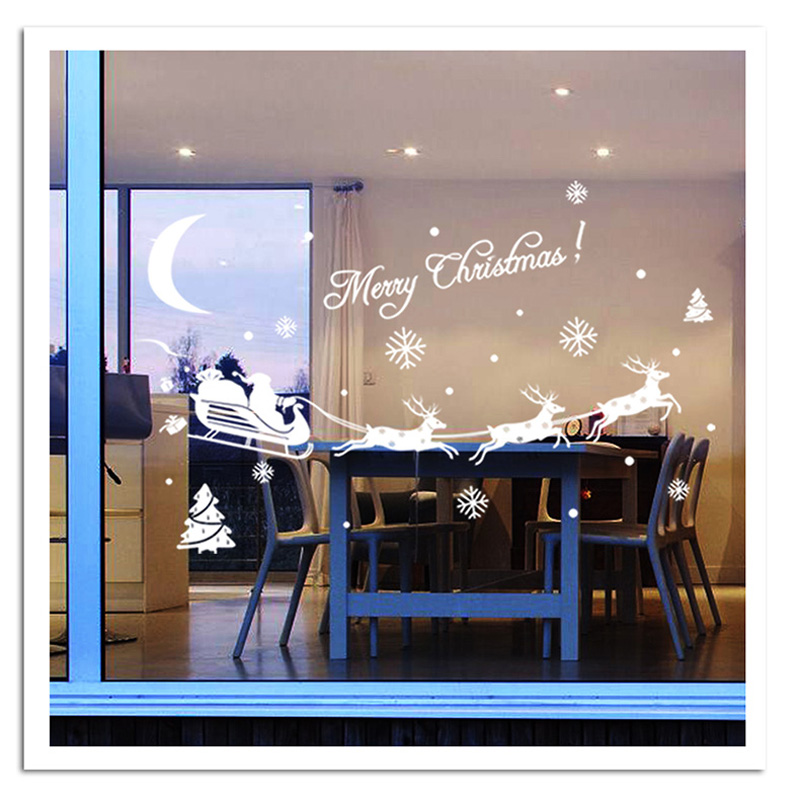 Christmas Decoration Waterproof Easy Instant Decoration Wall Stickers Home Decor Cozy Xmas Santa and Reindeer Sticker