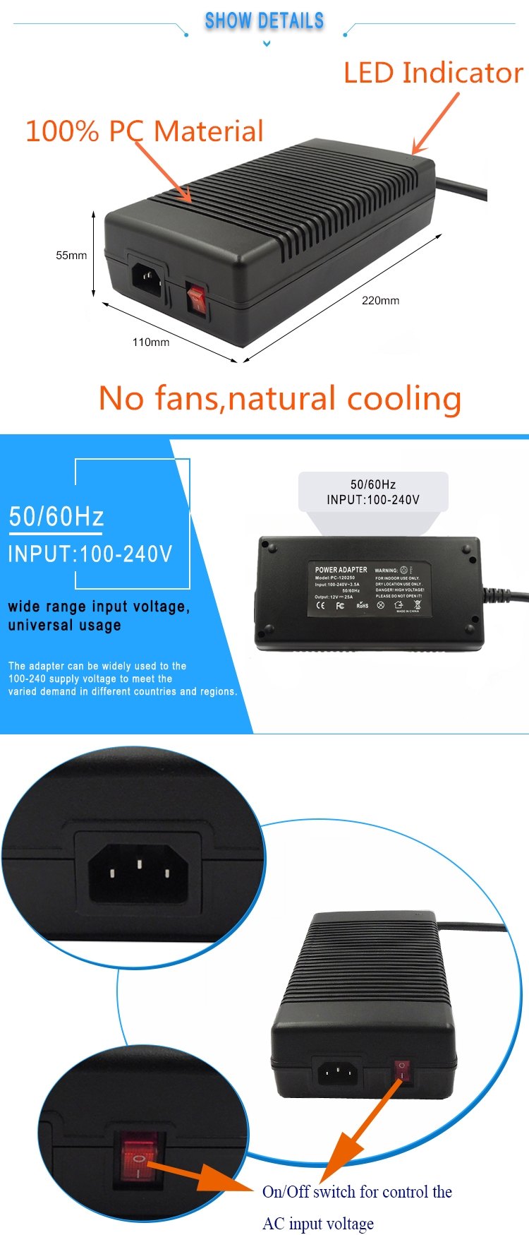 CE FCC RoHS CB Approved 12v ac dc led power adapter 300w with waterproof 4pin