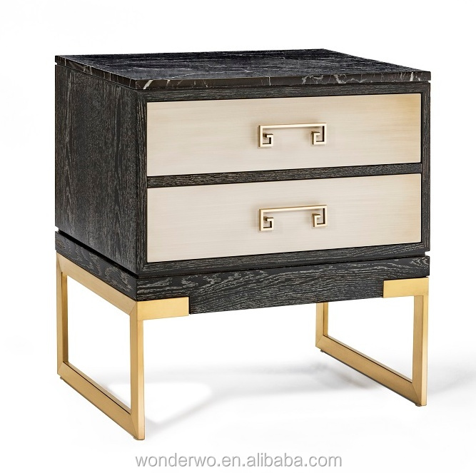 Greek Key Handle Metal Marble Top Night Stand Bed Side Table Bedroom Furniture Hotel Product On