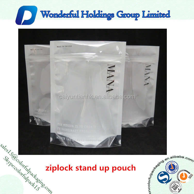 2017 hot sale resealable doypack custom printed zipper bag standing pouches plastic clear bags