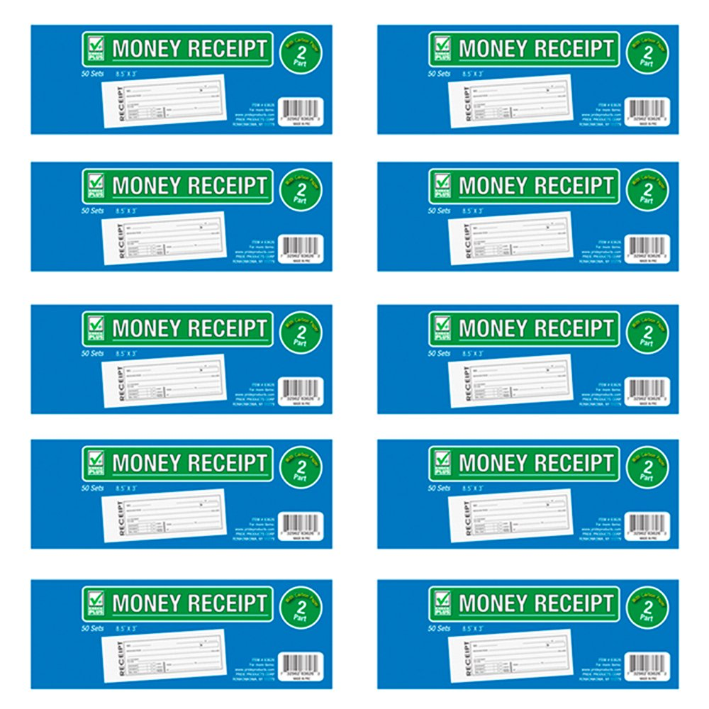 10 Cash Money Rent Receipt Record Book 2 Part 50 Sets Duplicate Copy Carbon New