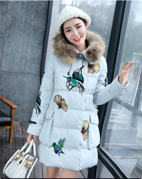 cb2d96daf3aeb Z10684A 2015 Winter Korea Fashion Coat with Fur Collar Vintage Embroidered High  End Down Coat