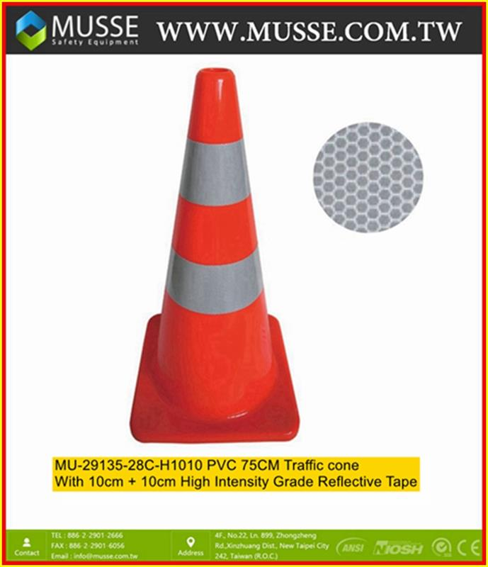 MU-29135-28C-085 75cm PVC cones traffic safety cone with Reflective tape