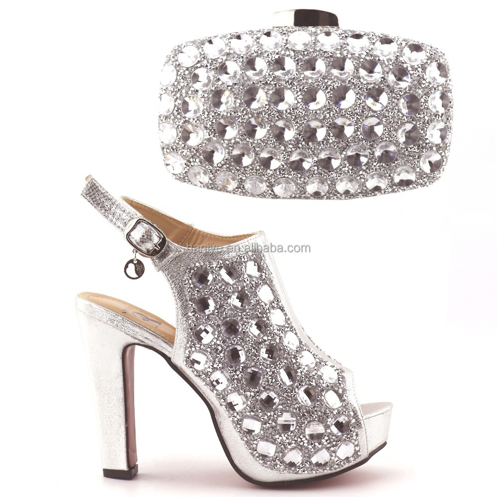 and Bag set Shoes Italian with pumps Dress stones toe Wedding bag 2017 big peep Shoes Ladies matching Axq4CSUyw
