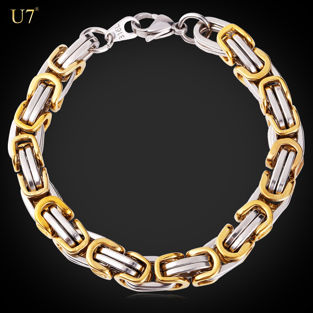 U7 Two-Tone 18k Gold plated Mens Chain Byzantine Bracelet &Bangle Hiphop Stainless Steel 9MM Biker Bracelet Motorcycle Jewelry