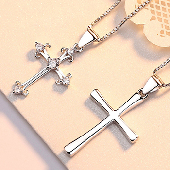 Valentine gifts 925 sterling silver cross couple pendant
