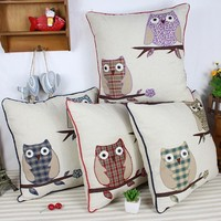 Lovely 2015 kids children knitting patchwork animal owl car seat cushion with filling