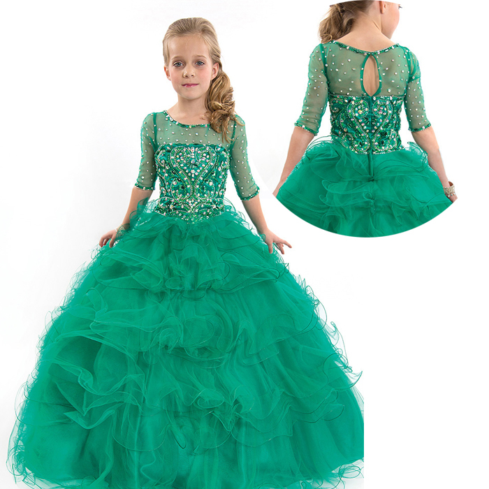 16c32ac18 Get Quotations · Kids Beauty Pageant Dresses For Junior Children Pageant  Gowns Turquoise Flower Girl Dresses Peach Color Party
