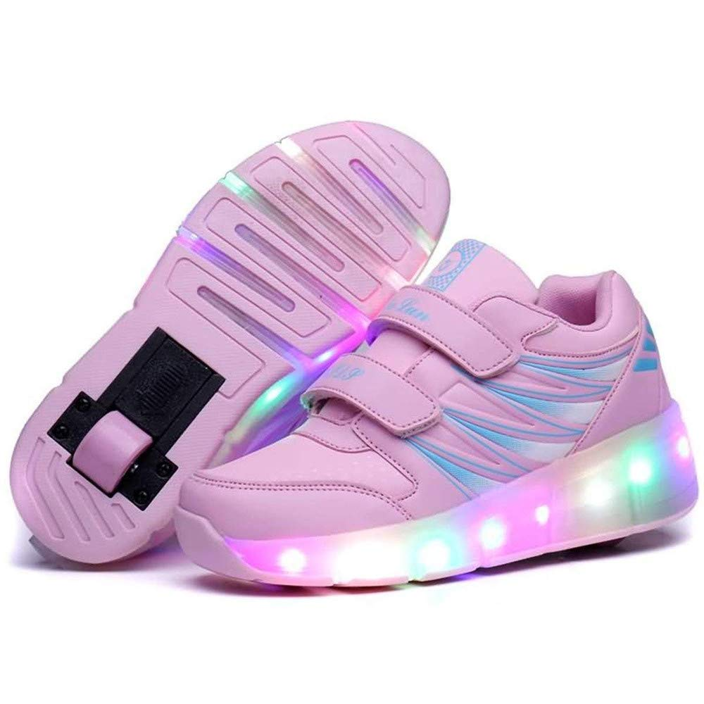 LED Light Up Roller Skate Shoes Blink Double Wheel Fashion Sports Flashing Sneaker Boys Girls Kid Button Adjustable Inline Skate (Color : Single Wheel Pink, Size : 28)