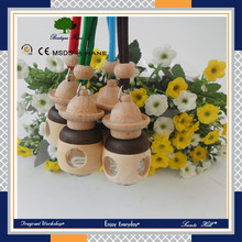 2016 hot new Humidifier decoration Type hanging car liquid air freshener in glass bottle with wooden cap