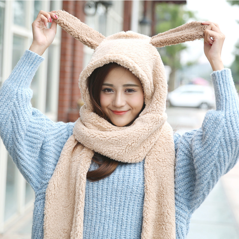 4fe499b8cd6 Winter Hat Scarf Glove 3 Sets Female Coon Warm Women Lovely Panda Deer  Comfortable Thicking Scart Glove Cap Set Conjoined