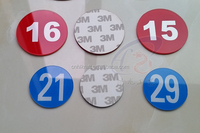 Printed serial numbers on acrylic plate with stickers