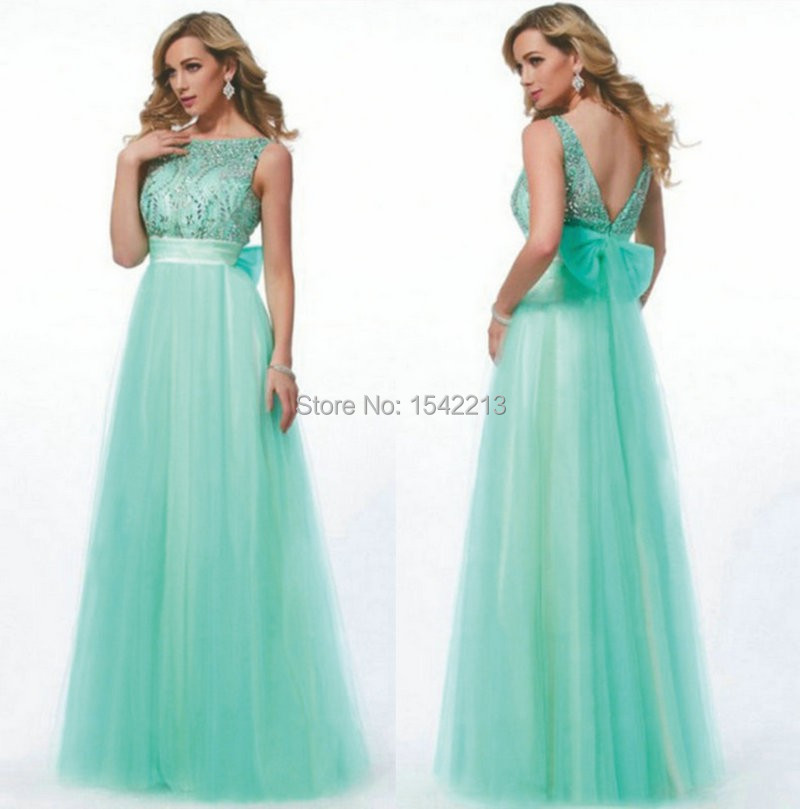 100% Real Photo Turquoise Blue Prom Dress Evening Gowns Sexy Open Back Vestido De Festa Longo 2015